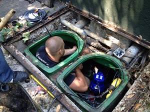 remplacement de pompe dans une fosse de relevage